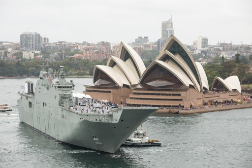 HMAS Canberra in front of the Sydney Opera House on Australia Day