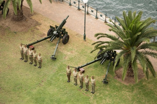 A ceremonial moment of the Sydney Harbour program, with the Australian Army at Bradfield Park, along with the Royal Australian Navy and Royal Australian Air Force (RAAF) conduct a Salute