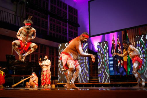 Performance by the Koomurri Aboriginal Dance Troupe prior to the Australia Day Address at the Sydney Conservatorium of Music on 24 January 2017