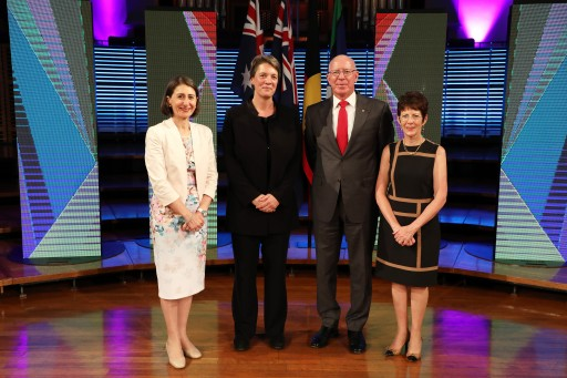 Form left: NSW Premier Gladys Berejiklian, Professor Michelle Simmons, His Excellency the Governor of New South Wales David Hurley and Mrs Hurley at the Australia Day Address at the Sydney Conservatorium of Music on 24 January 2017