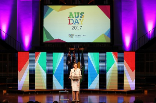 NSW Premier Gladys Berejiklian at her first official function as Premier. Ms Berejiklian delivers the introduction to Professor Michelle Simmons' Australia Day Address at the Sydney Conservatorium of Music on 24 January 2017