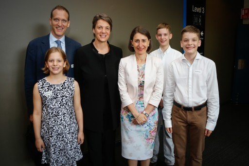 NSW Premier Gladys Berejiklian, Australia Day Address speaker Professor Michelle Simmons and family at the Sydney Conservatorium of Music on 24 January 2017
