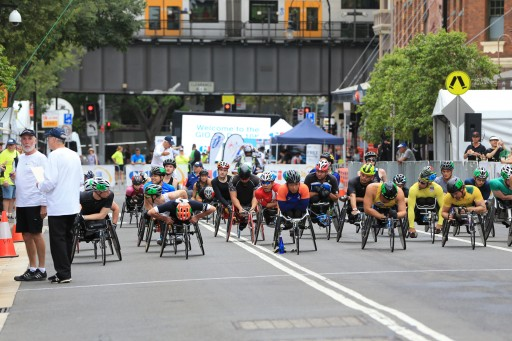 Athletes prepare for the 28th Annual GIO Oz Day 10K Wheelchair Race in the Rocks on Australia Day