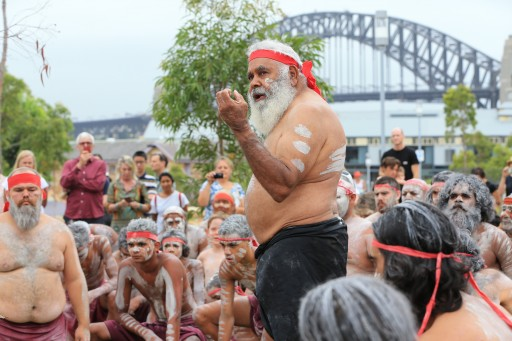 Uncle Max Harrison with the Koomurri Aboriginal Dance Troupe at the Wugulora Idigenous Morning Ceremony at Barangaroo