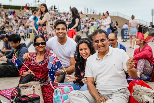 Happy crowd during Australia Day Live at the Sydney Opera House