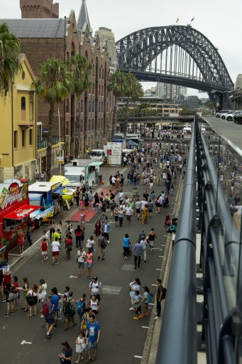 Crowds meandering through the Rocks on Australia Day
