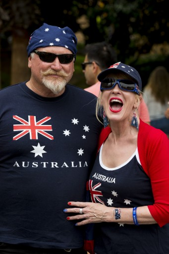 Happy couple enjoying Australia Day celebrations