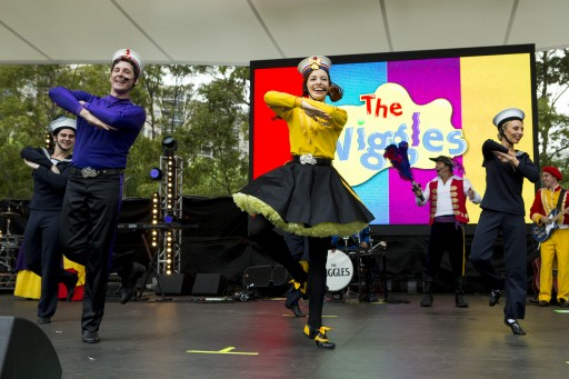 The Wiggles perform for a packed crowd at the Children's Festival in Darling Harbour