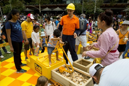 Kids playing at Bob the Builder's construction site