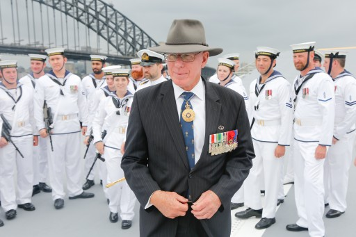 His Excellency Governor of NSW David Hurley with the Royal Australian Navy on board the HMAS Canberra