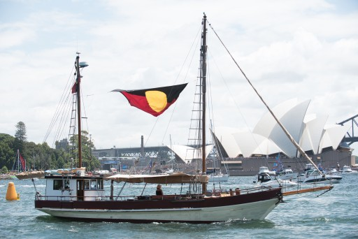 """Tribal Warrior"" at the Australia Day Harbour Parade in 2016"